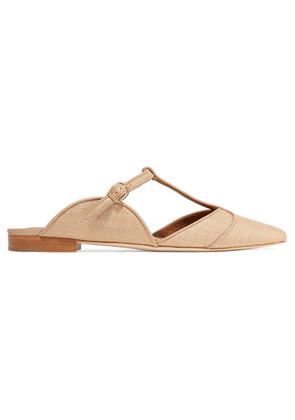 Malone Souliers - Imogen Leather-trimmed Raffia Point-toe Flats - Sand