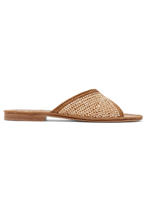 Carrie Forbes - Salon Miste Two-tone Woven Raffia Slides - Beige