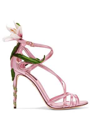 Dolce & Gabbana - Floral-appliquéd Metallic Leather Sandals - Pink