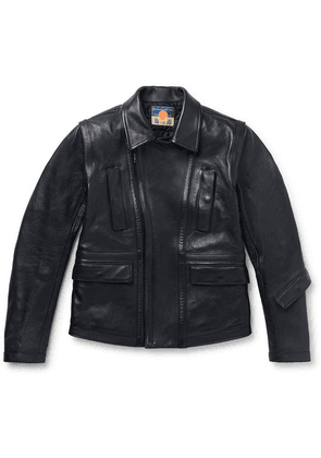 Blackmeans - Slim-fit Leather Biker Jacket - Navy
