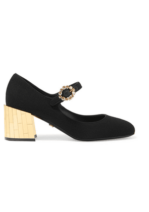 Dolce & Gabbana - Crystal-embellished Crepe Mary Jane Pumps - Black