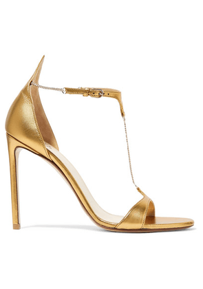 Francesco Russo - Chain-embellished Metallic Leather Sandals - Gold