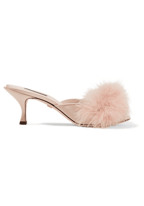 Dolce & Gabbana - Keira Feather-embellished Satin Mules - Blush