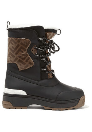 Fendi - T-rex Shearling-lined Logo-print Coated Canvas And Leather Ankle Boots - Black