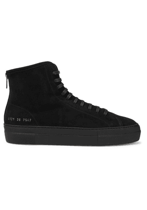 Common Projects - Tournament Shearling-lined Suede High-top Sneakers - Black