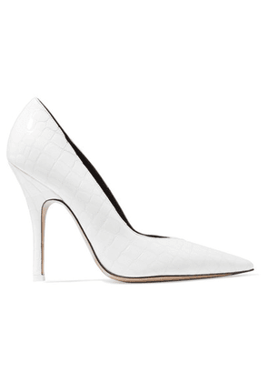 Attico - Sophie Glossed Croc-effect Leather Pumps - White