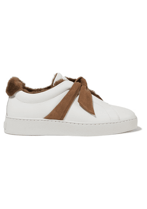Alexandre Birman - Clarita Bow-embellished Faux Shearling-lined Leather Slip-on Sneakers - White