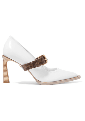 Fendi - Logo-print Coated Canvas And Patent-leather Mary Jane Pumps - White