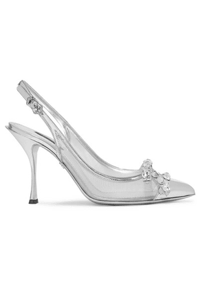 Dolce & Gabbana - Lori Crystal-embellished Mirrored-leather And Mesh Slingback Pumps - Silver