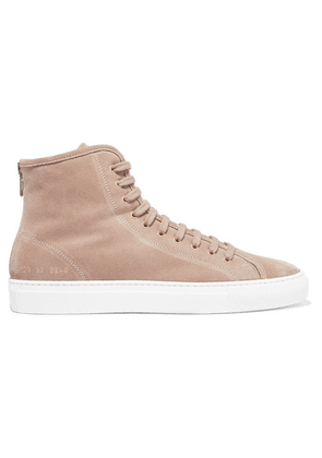 Common Projects - Tournament Shearling-lined Suede High-top Sneakers - Beige