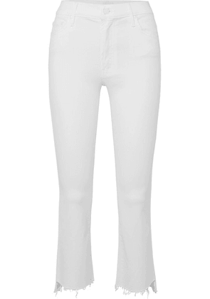Mother - The Insider Frayed Cropped High-rise Flared Jeans - White