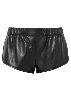 SAINT LAURENT - Leather Shorts - Black