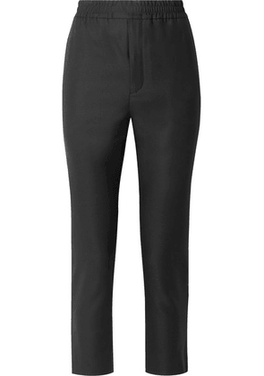 SAINT LAURENT - Cropped Satin-trimmed Wool And Mohair-blend Track Pants - Black