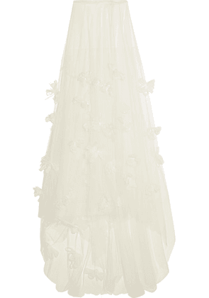 Halfpenny London - Ozzie Organza And Feather-appliquéd Silk-blend Tulle Maxi Skirt - White