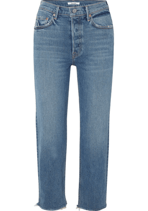 GRLFRND - Helena Cropped Distressed Mid-rise Straight-leg Jeans - Mid denim