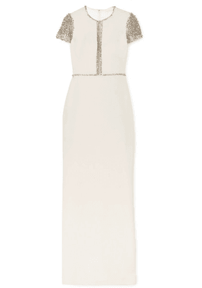 Jenny Packham - Cosmo Embellished Tulle And Cady Gown - Ivory