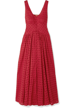 Cult Gaia - Angela Buckled Broderie Anglaise Cotton Midi Dress - Red
