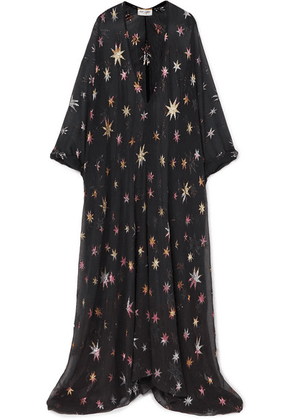 SAINT LAURENT - Metallic Fil Coupé Silk-blend Chiffon Maxi Dress - Black