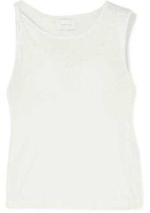 Current/Elliott - The Tied Up Muscle Linen And Cotton-blend Top - White