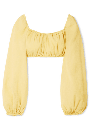 Cult Gaia - Clara Cropped Crinkled Cotton-blend Top - Pastel yellow