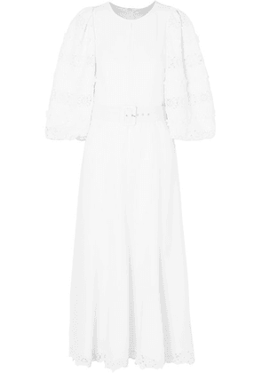 Andrew Gn - Belted Lace-trimmed Appliquéd Crepe Midi Dress - White
