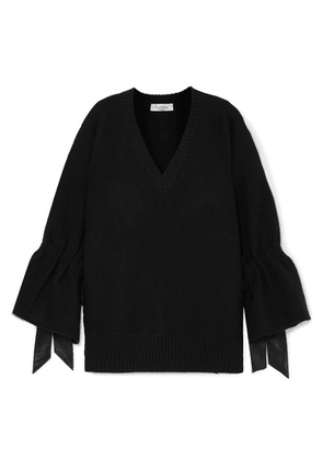 Valentino - Oversized Satin-trimmed Wool Sweater - Black