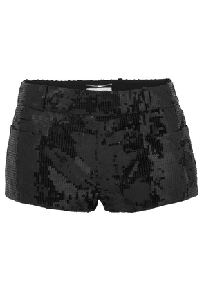 SAINT LAURENT - Sequined Wool Shorts - Black