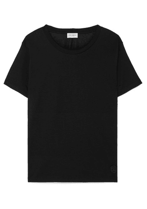 SAINT LAURENT - Essentials Appliquéd Cotton-jersey T-shirt - Black