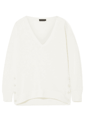 J.Crew - Button-embellished Linen-blend Sweater - Ivory