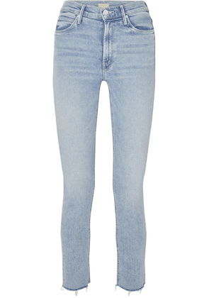 Mother - The Dazzler Cropped Distressed High-rise Skinny-leg Jeans - Light denim