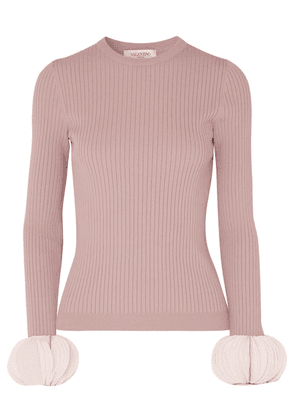 Valentino - Silk Georgette-trimmed Ribbed Stretch-knit Sweater - Pink