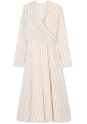 Victoria Beckham - Wrap-effect Striped Crepe Midi Dress - Ivory