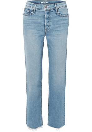 GRLFRND - Helena Cropped Frayed High-rise Straight-leg Jeans - Mid denim