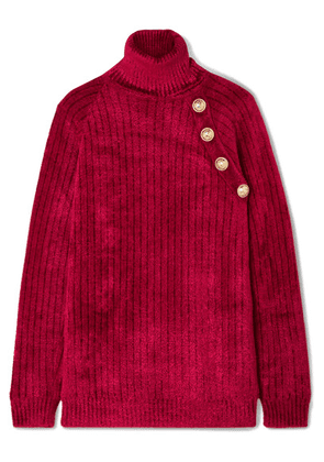 Balmain - Button-embellished Chenille Turtleneck Sweater - Red