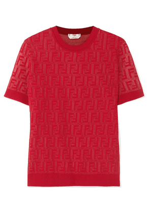 Fendi - Intarsia-knit Cotton-blend Sweater - Red