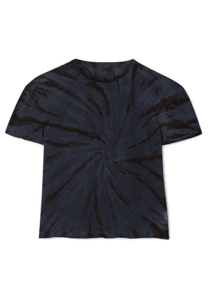 RtA - Rain Cropped Tie-dyed Cotton And Cashmere-blend Jersey T-shirt - Storm blue