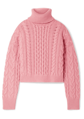 Alanui - Cashmere And Wool-blend Cable-knit Turtleneck Sweater - Pink