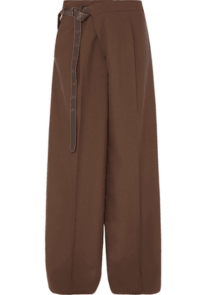 Marni - Leather-trimmed Wool Wide-leg Pants - Brown