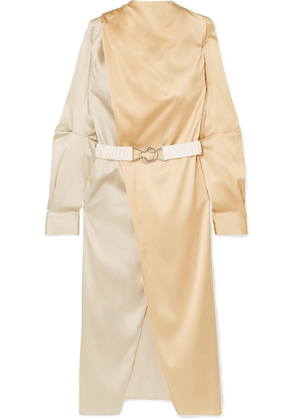 Bottega Veneta - Belted Two-tone Stretch-silk Satin Wrap Dress - Ivory