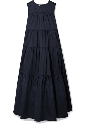 Co - Tiered Cotton-sateen Midi Dress - Navy
