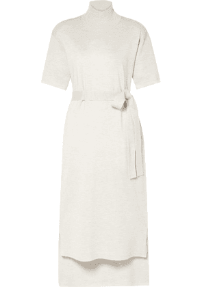 Co - Belted Stretch-wool Turtleneck Midi Dress - Cream