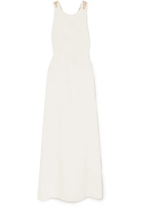 Oscar de la Renta - Embroidered Open-back Grain De Poudre Wool-blend Gown - Ivory