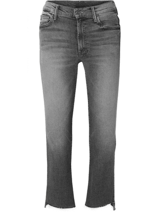 Mother - The Insider Frayed Cropped High-rise Flared Jeans - Gray