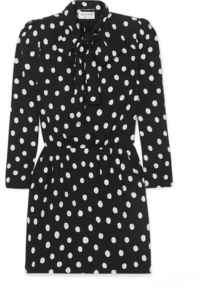 SAINT LAURENT - Pussy-bow Printed Crepe Mini Dress - Black