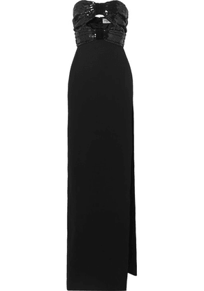 SAINT LAURENT - Strapless Cutout Sequined Crepe Gown - Black