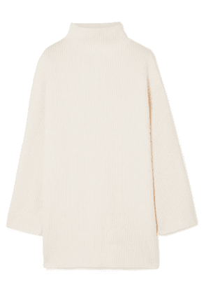Co - Oversized Button-embellished Ribbed Wool And Cashmere-blend Turtleneck Sweater - Ivory