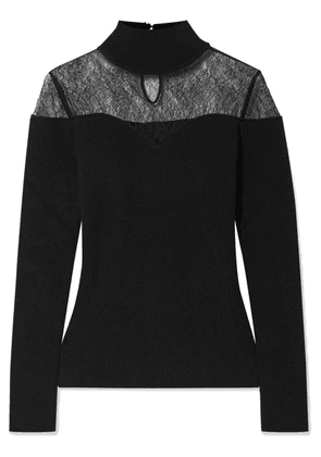Fendi - Lace-trimmed Ribbed Wool And Cashmere-blend Turtleneck Sweater - Black
