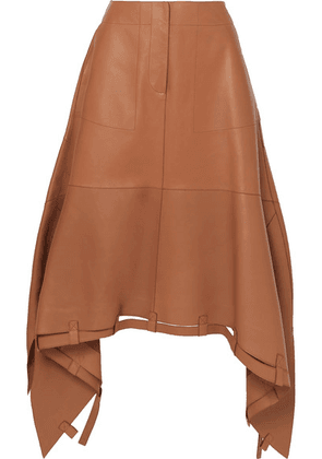 Loewe - Asymmetric Leather Midi Skirt - Brown