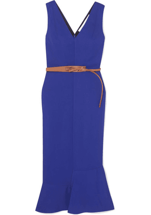 Victoria Beckham - Belted Fluted Georgette Midi Dress - Blue