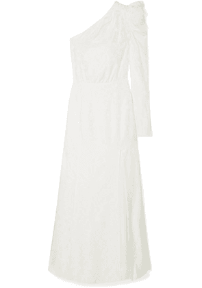 Les Rêveries - One-shoulder Ruched Silk-jacquard Gown - Ivory